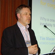 Tim Macer presenting at conference