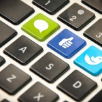 keyboard showing special custom buttons for social media activities